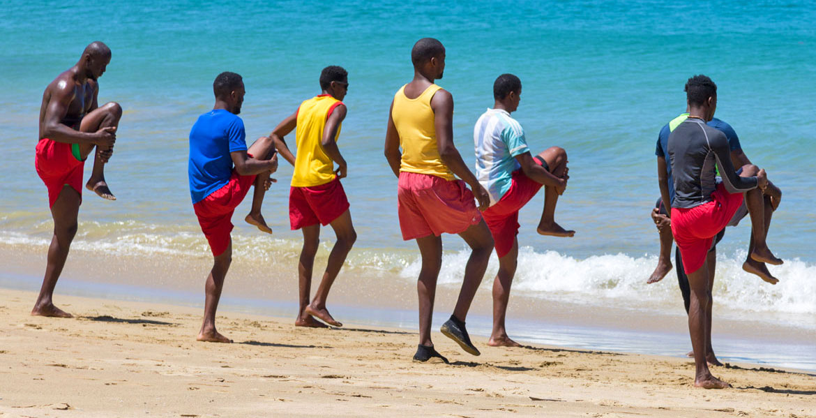 Lifeguards training on Castara Beach