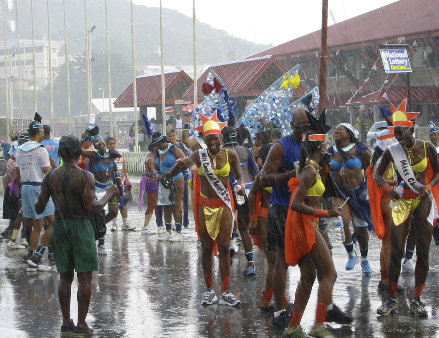 Tropical downpour during Carnival